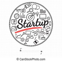 Business start up icon on white