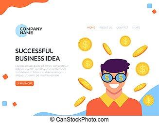 Business start up idea concept. Vector flat cartoon graphic design illustration