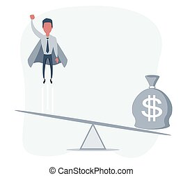 Business startup concept. Illustration with a businessman flying up and a bag full of money.