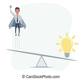 Business startup concept. Vector illustration with a businessman flying high up and a lightbulb.