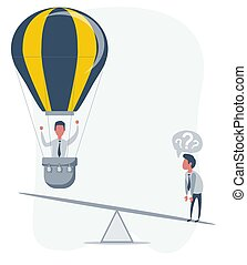 Business startup concept. Vector illustration with a businessman flying up on a hot air balloon and a loser.