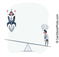Business startup concept. Vector illustration with a businessman flying up on a rocket and a loser.