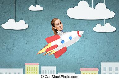 businesswoman flying on rocket above cartoon city -...