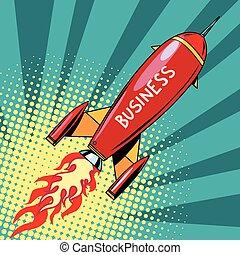 business startup rocket, pop art retro vector illustration