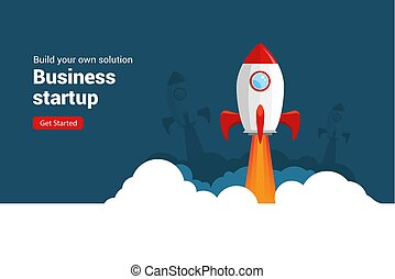 Business startup rocket launch flat vector illustration. Startup space design rocketship innovation product
