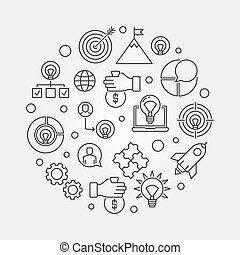 Business startup vector concept round outline illustration