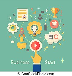 Business Startup Vector Illustration. Gears infographics ...