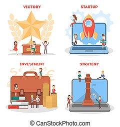 Business startup web banner set. Idea of creative