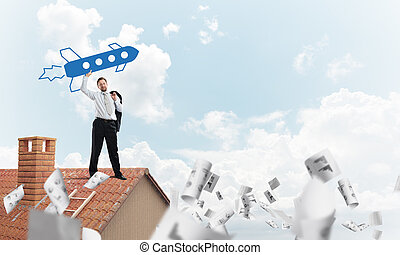 Business startups development - Conceptual image of young ...