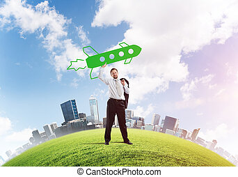 Business startups development - Horizontal shot of ...