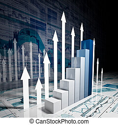 business stat background - fine 3d image of business finance...