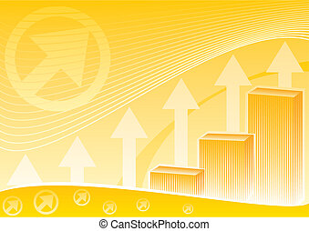 Financial chart on orange background symbolizes success in business