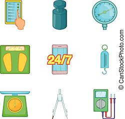 Business statistic icons set, cartoon style