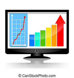 Business success statistics on the monitor screen with increasing graph and arrows