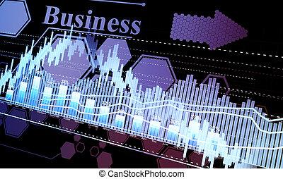 Business statistics and analytics, glowing sheet beznes...