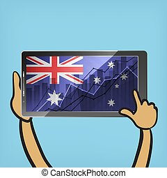 business statistics chart showing different growing graphs with australian flag on screen of tablet on blue background