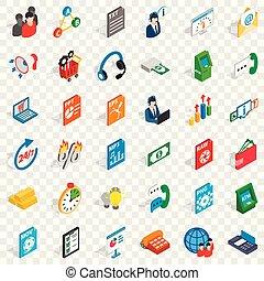 Business statistics icons set, isometric style