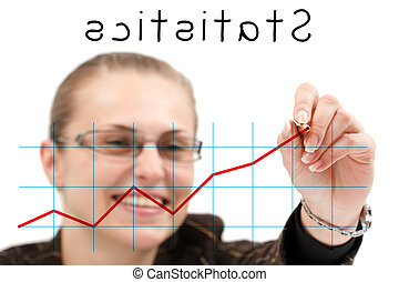 Business statistics - A young attractive businesswoman...