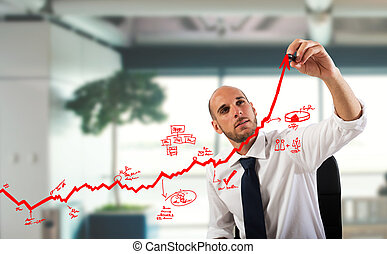 Business statistics uphill - Businessman draw graphics on an...