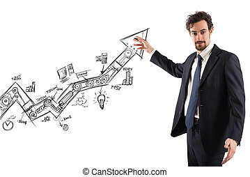 Business statistics uphill - Businessman draws and shows ...