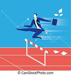 Vector illustration of businessman overcoming challenges like steeplechaser. Graph presenting business growth.