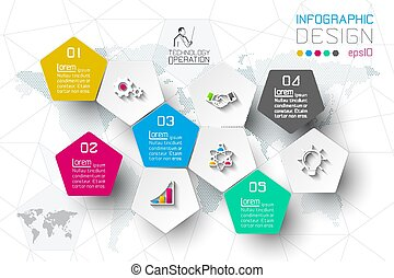 Business step options and abstract infographics number options template.