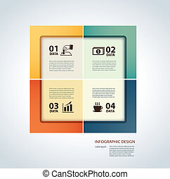 Vector business step paper lines and numbers design template