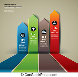 Vector business step paper data and numbers design template
