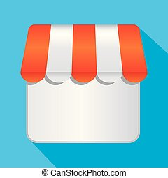 Business store icon, modern flat design. Vector icons on a blue background with a long shadow.