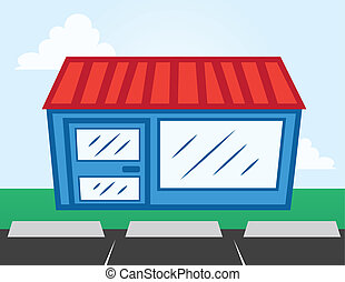 Business Storefront - Business storefront with parking lot...
