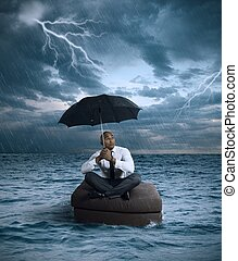 Business storm - Concept of crisis and difficulty in the...