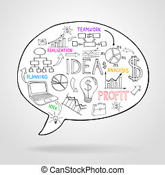 Business strategy and planning in a speech bubble with icons...
