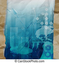 business strategy background on crumpled paper with tear envelope as concept