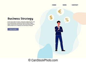 Business strategy banner - flat cartoon businessman thinking about money