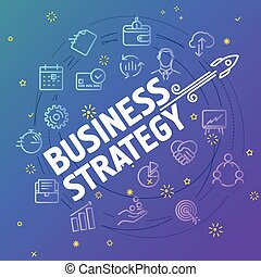 Business strategy concept. Different thin line icons...