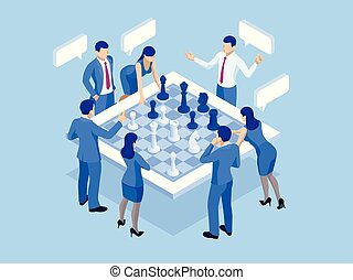 Business strategy concept. Isometric businessmen and women playing chess game reaching to plan strategy for success. Achieving goals business strategy for win, management or leadership.