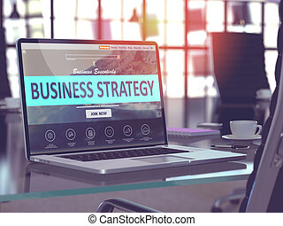 Business Strategy Concept on Laptop Screen.