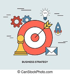 Business strategy concept via outline icons. Targeting and...