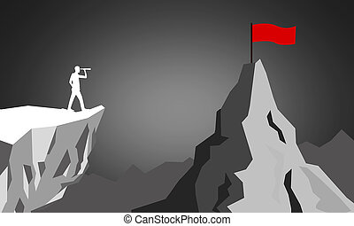Business strategy concept with telescope looking to the top of a mountain