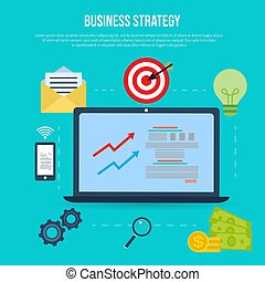 Business strategy flat style design concept.
