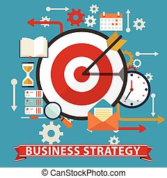 Business strategy. Flat vector banner illustration.