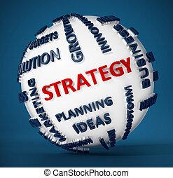 Business strategy globe on blue background. 3D illustration