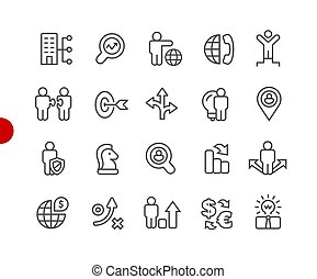 Business Strategy Icons // Red Point Series