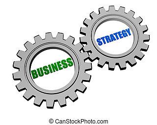business strategy in silver grey gears