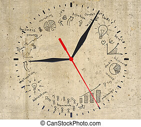 Business strategy infographics option drawn around clock dial
