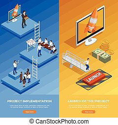 Business Strategy Isometric Vertical Banners