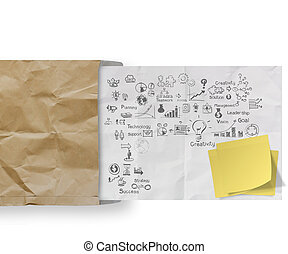 business strategy on crumpled paper envelope background and blank sticky note as concept