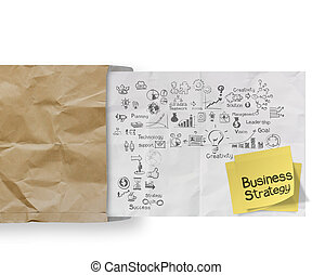 business strategy on crumpled paper envelope background and sticky note as concept