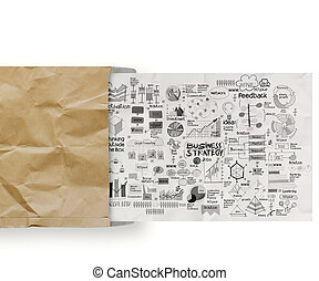 business strategy on crumpled paper envelope background as concept