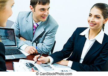Business strategy - Photo of business people planning a new...